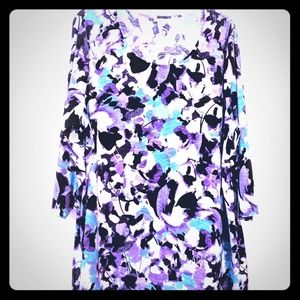 Croft & Barrow Purple Print Tunic Top 1X